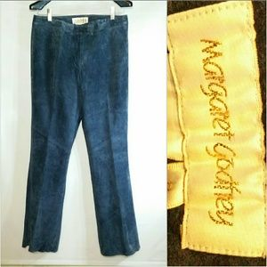 Margaret Godfrey Blue Suede Leather Pants Trousers